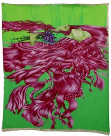 large wall hanging oil painting of ophelia with magenta hair