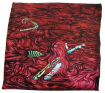 large wall hanging oil painting of a woman in a red pool of hair with bones