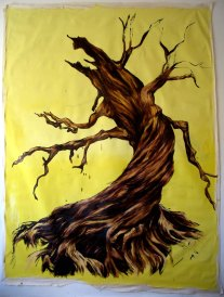 large wall hanging oil painting of the tree from Sleepy Hollow movie