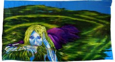 large wall hanging oil painting of woman with mossy green hair/pond