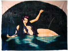 Large wall hanging oil painting of woman half submerged in a dark damp pond